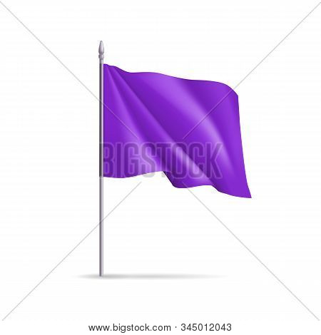 Purple Rectangular Flag On Flagpole Isolated On White Background. Realistic Expo Banner For Outdoor