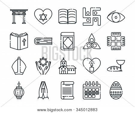 Icon Set Of World Religious World Symbols Design, Religion Culture Belief Faith God Spiritual Medita