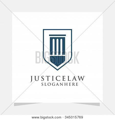 Justice Law Logo Design Vector. Attorney Logo Design Template. Advocate Firm Logo