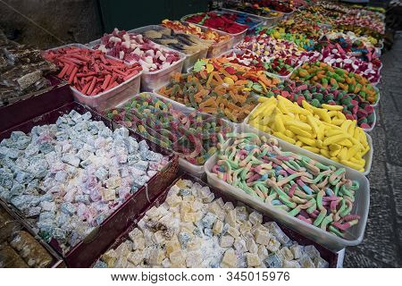 Eastern Delights Exposed For Sale In An Outdoor Food Market. Turkish Rahat, Candies, Fruit-jellies,