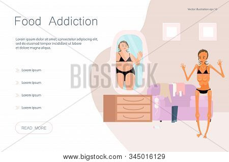Landing Web Page Template With Eating Disorder, Anorexia Or Bulimia Concept. Super Skinny Woman Look