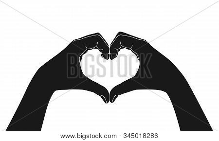 Hands Folded In The Shape Of A Heart. Sign Isolated On White Background. Gesture Of The Hands Folded