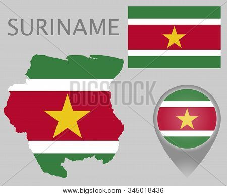 Colorful Flag, Map Pointer And Map Of The Surname In The Colors Of The Surinamese Flag. High Detail.