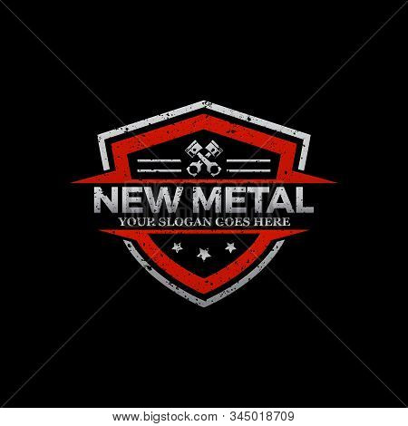 Repair Car Logo Image, Rustic Metal Repair Logo Shield