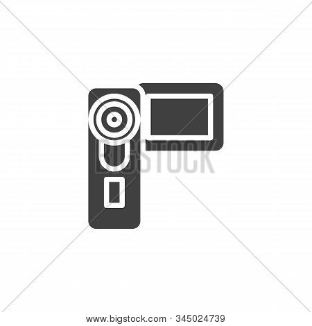 Digital Video Camera Vector Icon. Camcorder Filled Flat Sign For Mobile Concept And Web Design. Hand