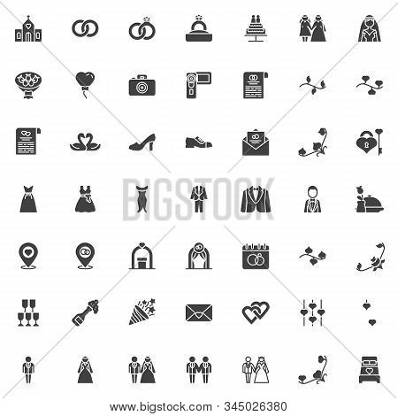 Wedding, Marriage Vector Icons Set, Modern Solid Symbol Collection, Filled Style Pictogram Pack. Sig