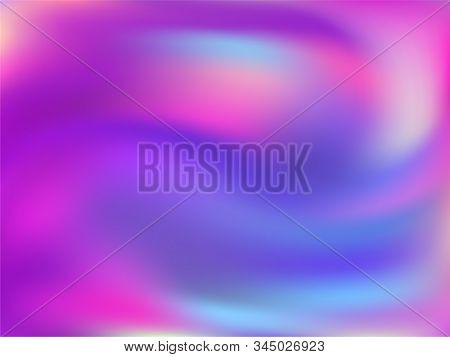 Hologram Effect Glitch Gradient Vector Design. Digital Blue Purple Ultraviolet Background. Hologram