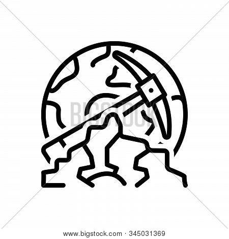 Black Line Icon For Geological Geologist  Landscape Formation Globe