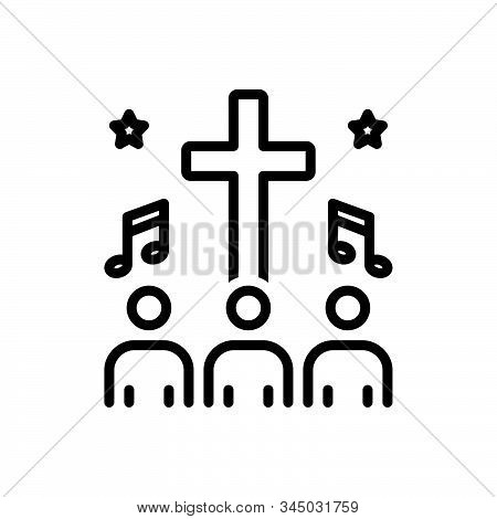 Black Line Icon For Hymn People Religious-song Psalm Homily Melodious
