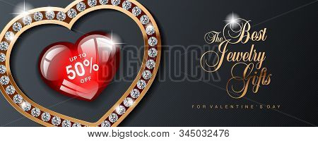 Luxury Valentines Day Jewelry Sale, Special Offer, Discount, Advertising Campaign Vector Banner, Fly