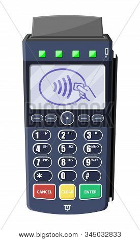 Modern Pos Terminal. Bank Payment Device. Payment Nfc Keypad Machine. Credit Debit Card Reader. Vect