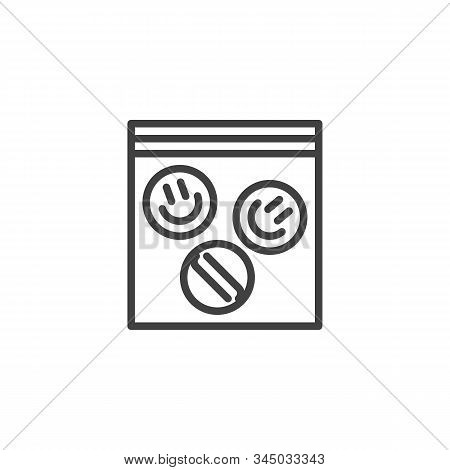 LSD pills package line icon. linear style sign for mobile concept and web design. Ecstasy tablets package outline vector icon. Symbol, logo illustration. Vector graphics poster