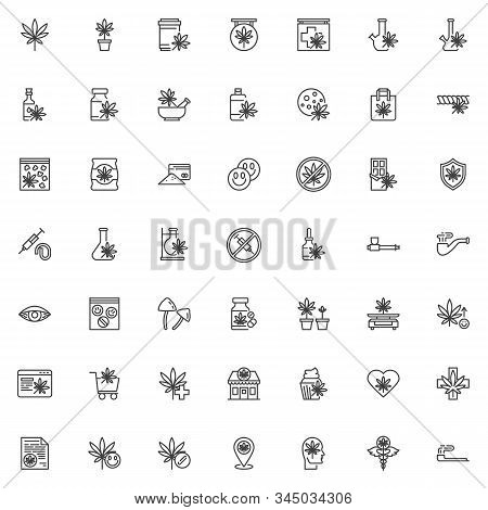 Cannabis Store Line Icons Set. Marijuana Shop Linear Style Symbols Collection, Outline Signs Pack. V