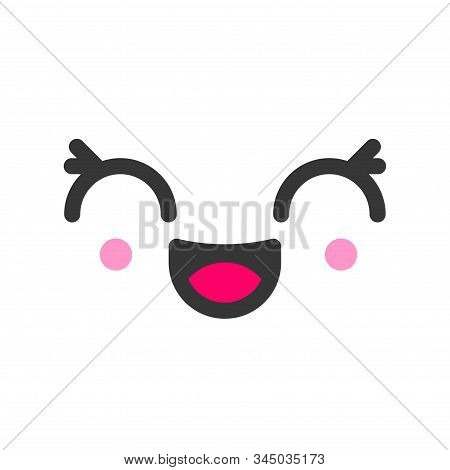 Excited Kawaii Cute Emotion Face, Emoticon Vector Icon