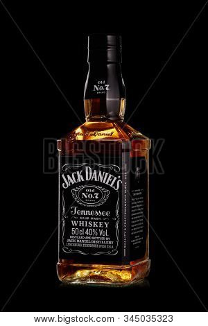 St.Petersburg, Russia - December 2019 - Bottle of Jack Daniel's whiskey on black background. Brand of the American whiskey