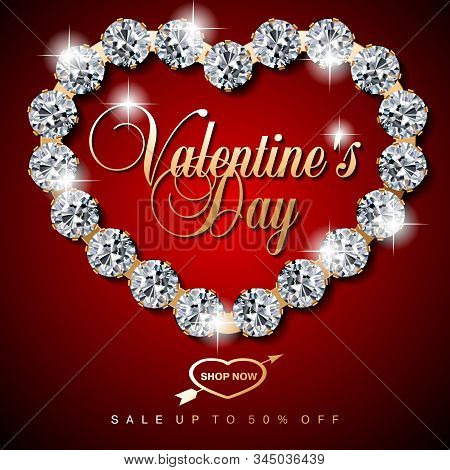 Luxury Valentines Day Jewelry Sale, Special Offer, Discount, Advertising Campaign Square Vector Bann