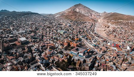 Aerial panorama of the city of Potosi with the mountain of Cerro Rico, Bolivia