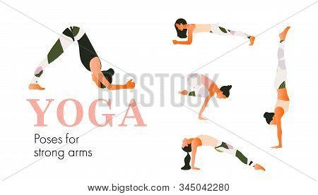 A Set Of Yoga Postures Female Figures For Stronger Hips.