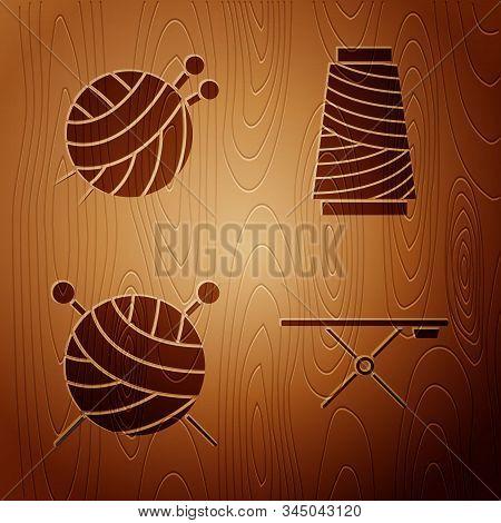 Set Ironing Board, Yarn Ball With Knitting Needles, Yarn Ball With Knitting Needles And Sewing Threa
