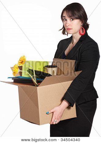 Sad Worker Carries Belongings