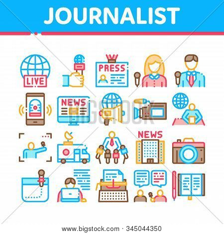 Journalist Reporter Collection Icons Set Vector Thin Line. Journalist And Hand With Microphone, Vide