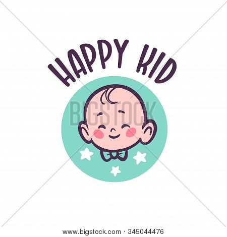 Baby Logo With Infant Character Head In Bow Tie Smiling Isolated On White Background. For Children S