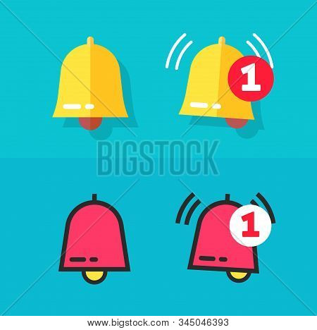 Bell Icon Or Doorbell Flat Cartoon And Line Outline Art Alarm Symbol With Alert Notification As Inco