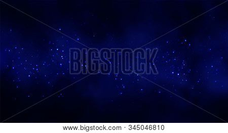 Vector Illustration Of Cosmos Space Background With Starry Sky, Star Massive In Deep Cosmos In Blue