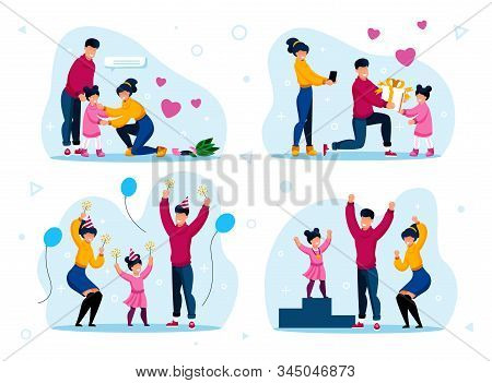 Family Life Happy Moments Trendy Flat Vector Concepts Set. Parents Calming Down Crying Child, Celebr