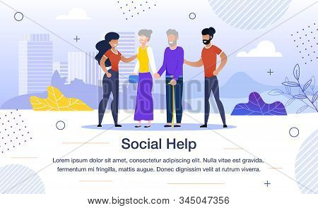 Social Help For Aged People, Volunteer Team Work Trendy Flat Vector Banner, Poster Template. African