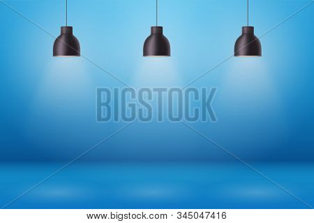 Vintage Metal Pendant Cone Lamps On Blue Painting Wall Background. Original Retro Design Of Sample R