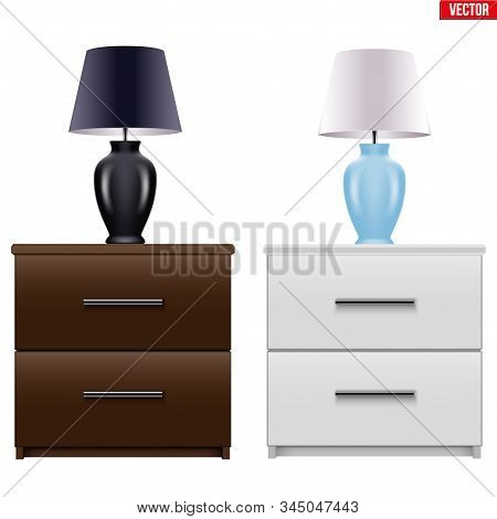 Set Of Modern Bedside Nightstand With Table Lamp. Wooden Bedside Cabinet With Two Drawers. Brown And