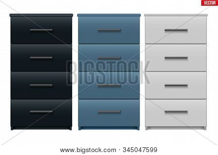 Set Of Office Cabinet With Drawers. Filing Cabinet With Four Drawers. Metallic And Black And White C