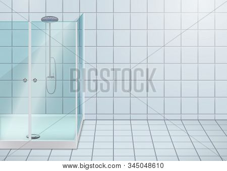 Modern Glass Shower Stall. Glass Door And Screen. Bathroom Sample Interior. Vector Illustration.