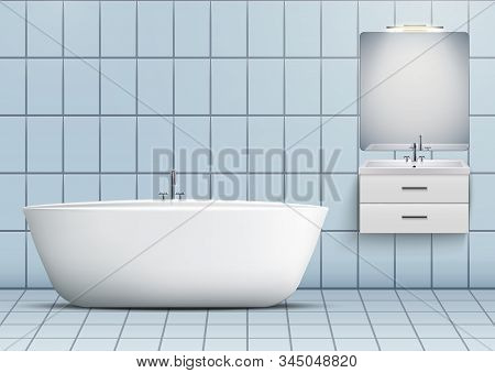Bath And Washbasin Cabinet With Mirror And Light. Domestic And Hotel Bathroom Design Interior. White
