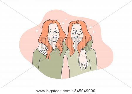 Family, Love, Team, Friendship, Twin Concept. Young Merry Twins Has True Friendship. Family Love And