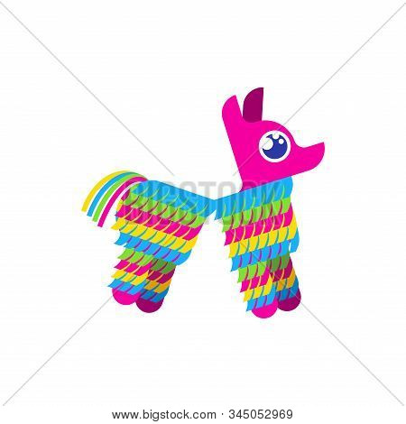 Pinata Broken Isolated. Traditional Mexican Donkey Toy With Sweets Inside. Vector Illustration