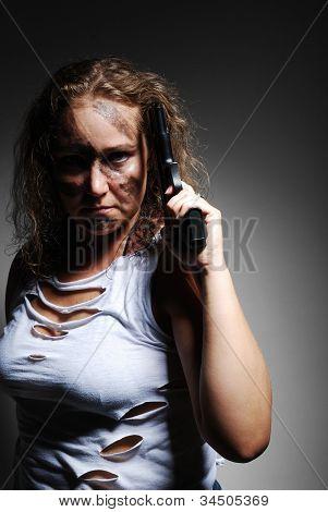 Serious Woman With Handgun
