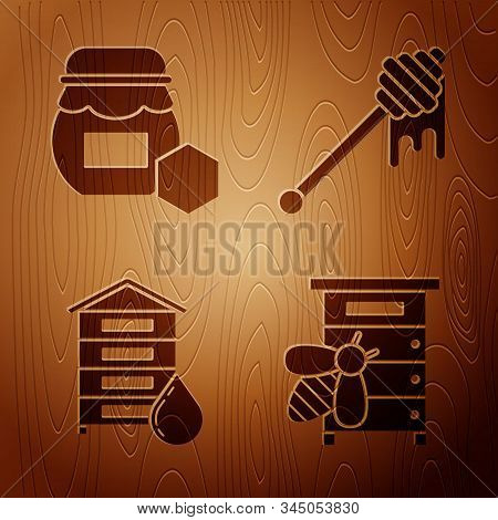 Set Hive For Bees, Jar Of Honey, Hive For Bees And Honey Dipper Stick With Dripping Honey On Wooden