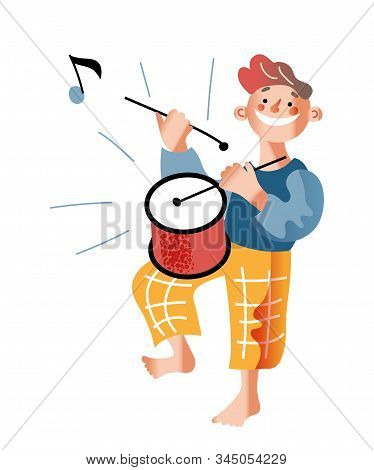 Kid With Drum Flat Vector Illustration. Smiling Boy Playing Musical Instrument Cartoon Character. Li