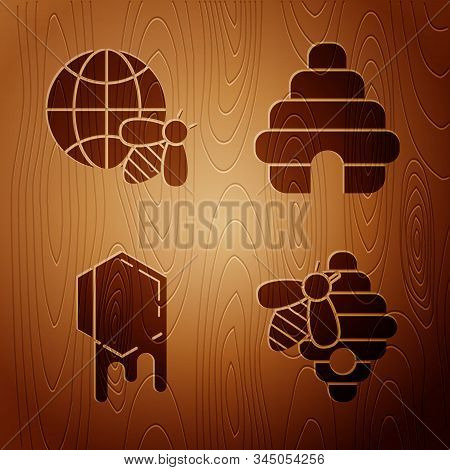 Set Hive For Bees, Honeycomb Map Of The World And Bee, Honeycomb And Hive For Bees On Wooden Backgro