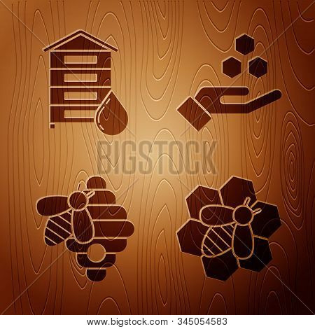 Set Bee And Honeycomb, Hive For Bees, Hive For Bees And Honeycomb And Hand On Wooden Background. Vec