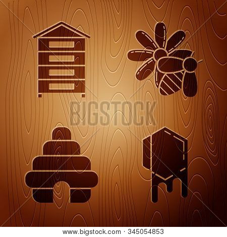 Set Honeycomb, Hive For Bees, Hive For Bees And Bee And Flower On Wooden Background. Vector