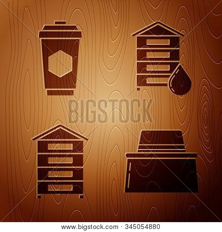 Set Beekeeper With Protect Hat, Cup Of Tea With Honey, Hive For Bees And Hive For Bees On Wooden Bac
