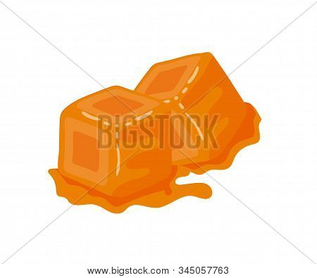 Sweet Caramel Candies Flat Vector Illustration. Brown Toffee Cubes, Delicious Confection, Tasty Trea