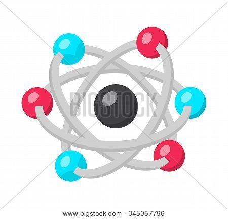 Atom Structure Model Flat Vector Illustration. Nuclear Energy, Quantum Physics, Modern Science Symbo