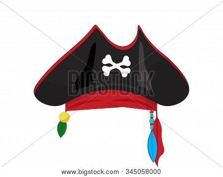 Pirate Hat Flat Vector Illustration. Buccaneer Headgear With Crossbones Isolated Clipart On White Ba