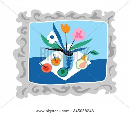 Still Life In Vintage Frame Flat Illustration. Hand Drawn Vector Wall Painting Isolated On White Bac