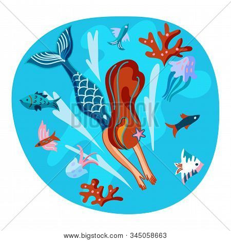 Mermaid swimming with fish flat illustration. Underwater fantasy creature isolated design element. Magical princess with fishtail swimming cartoon character. Marine animals and seaweed under water poster