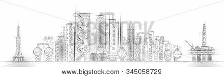 Petroleum Oil Refinery Complex Panorama Business Concept. Finance Economy Polygonal Petrochemical Pr